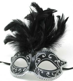 Black and Silver Masquerade Mask - Feather Mask | Masks and Tiaras